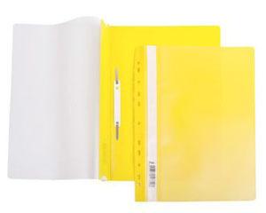 Папка-скоросшиватель A4 Hatber 140/180 мкм желтая, пластик, с перфорацией, прозр.верх купить оптом и в розницу