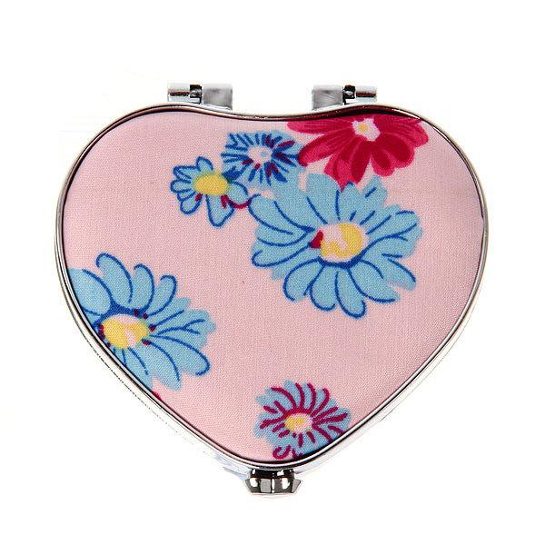 Зеркало косметическое ″Ромашки″ сердце, цвета в ассортименте 7,5*7см купить оптом и в розницу