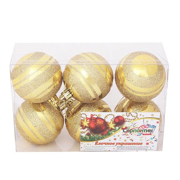 Новогодние шары ″Золотые полосы″ 6см (набор 6шт.) купить оптом и в розницу