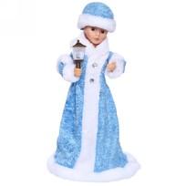 Снегурочка музыкальная 40см с фонарем в голубом платье купить оптом и в розницу