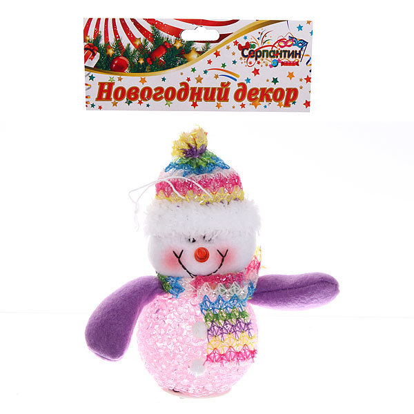 Ёлочная игрушка мягкая 12см ″Снеговичок с подсветкой″ купить оптом и в розницу