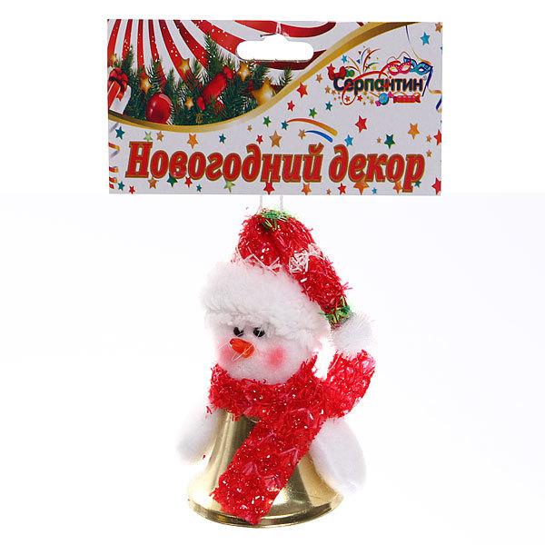 Ёлочная игрушка мягкая 12см ″ Снеговичок-колокольчик″ купить оптом и в розницу
