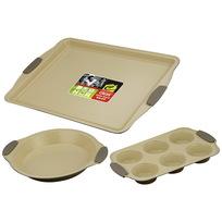 Набор для выпечки с керамическим покрытием 3 предмета: противень 44*30см, форма для 6 кексов, форма для пирога 24см купить оптом и в розницу