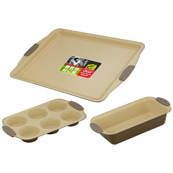 Набор для выпечки с керамическим покрытием 3 предмета: противень 44*30см, форма для 6 кексов, форма для кекса 29*15см купить оптом и в розницу