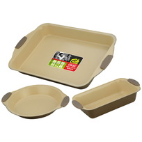 Набор для выпечки с керамическим покрытием 3 предмета: противень 44*30см, форма для пирога 24см, форма для кекса 29*15см купить оптом и в розницу