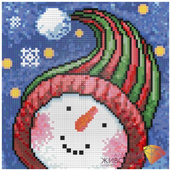 Набор ДТ Картина стразами Портрет снеговика АЖ-1262 купить оптом и в розницу