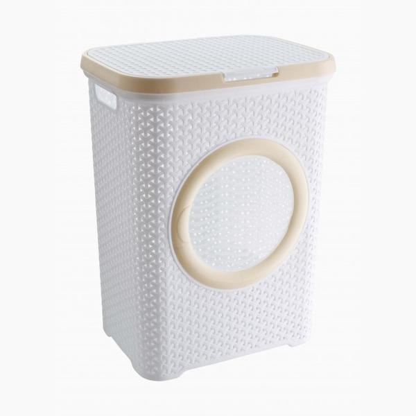 Корзина плетеная люкс для белья с крышкой(бел) *6 (440 x 336 x 555)мм купить оптом и в розницу