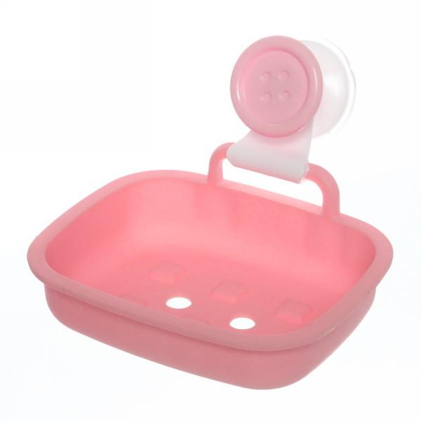Мыльница на присоске ″Пуговка″, розовая 13.5х10,5 см купить оптом и в розницу