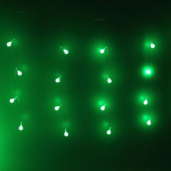 Бахрома светодиодная 2,5 х 0,6м, 48 ламп LED, Шар, Зеленый, 8реж,прозр.пров,с возм.соед, 12 нитей купить оптом и в розницу