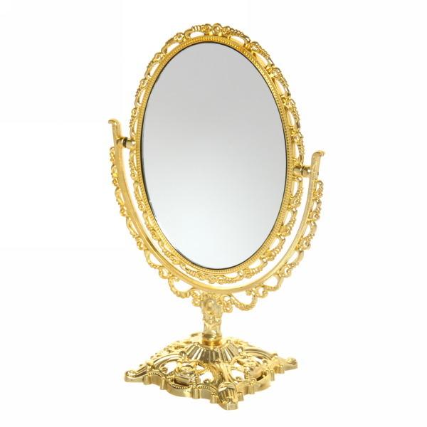 Зеркало настольное в пластиковой оправе ″Версаль - Овал″ цвет золото, двухстороннее 20см купить оптом и в розницу