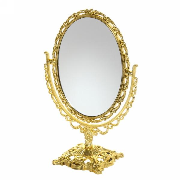 Зеркало настольное в пластиковой оправе ″Версаль - Овал″ цвет золото, двухстороннее 25см купить оптом и в розницу
