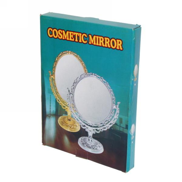 Зеркало настольное в пластиковой оправе ″Версаль - Прямоугольник″ цвет золото с розовым отливом, двухстороннее 30см купить оптом и в розницу
