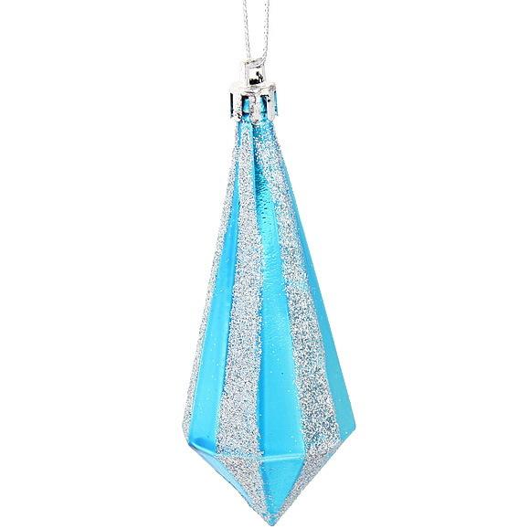 Ёлочные игрушки, набор 6шт, 11см ″Кристалл голубой алмаз″ купить оптом и в розницу