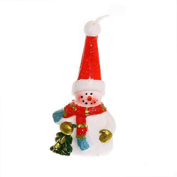 Свеча Новогодняя ″Веселый снеговичок″ 10*4,5 см купить оптом и в розницу