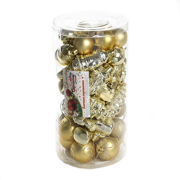 Елочные игрушки, набор 46 шт ″Новогодние гости″ золото купить оптом и в розницу
