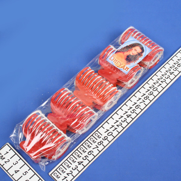 Бигуди пластмассовые с крабом 5шт, цвет микс, d=35мм купить оптом и в розницу