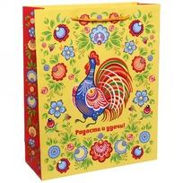 Пакет подарочный 26х32 см вертикальный ″Радости и удачи!″, Городецкая роспись купить оптом и в розницу