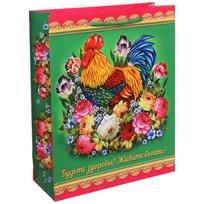 Пакет подарочный 26х32 см вертикальный ″Будьте здоровы! Живите богато!″, Жостовский петушок купить оптом и в розницу