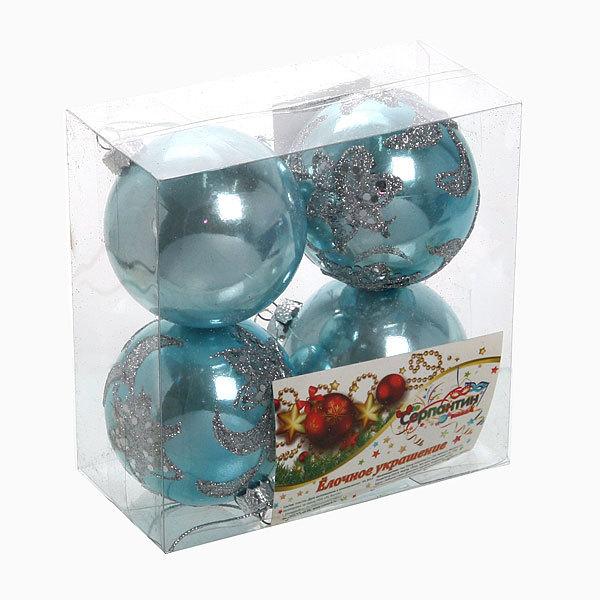 Новогодние шары ″Новогодняя ночь″ 7см (набор 4шт.) купить оптом и в розницу