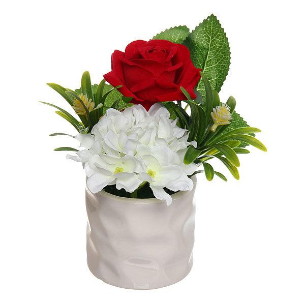 Цветок искусственный ″Букетик″ в горшочке бордовый F0686-20 купить оптом и в розницу