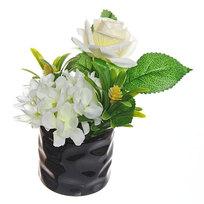 Цветок искусственный ″Букетик″ в горшочке белый F0686-20 купить оптом и в розницу