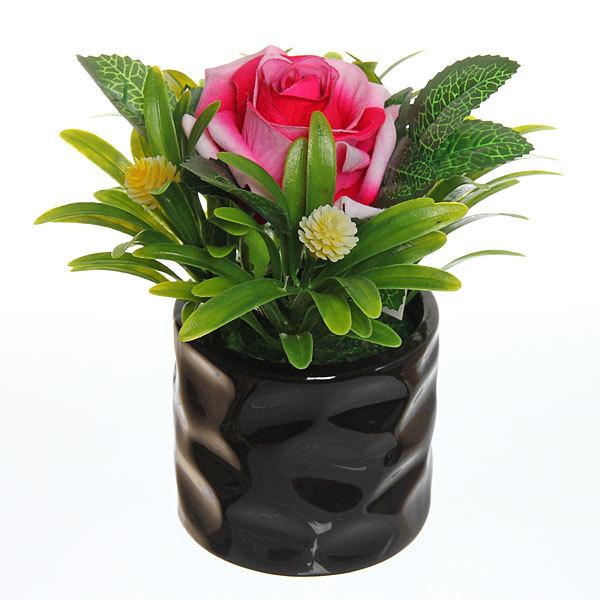 Цветок искусственный ″Роза в букете″ в горшочке светло-розовая F0686-33 купить оптом и в розницу