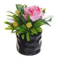 Цветок искусственный ″Роза в букете″ в горшочке розовая F0686-33 купить оптом и в розницу