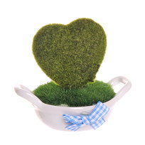 Декор на подставке ″Сердечко″ искусственная травка 14-39 купить оптом и в розницу