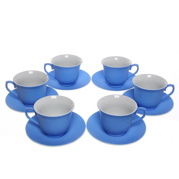 Чайный набор 12 предметов 180мл ″Бархат″ синий купить оптом и в розницу