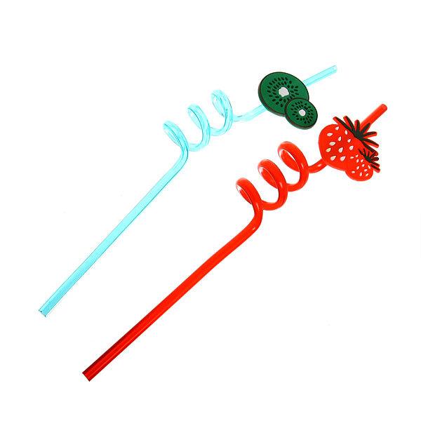 Трубочка для коктейля 6*260мм в наборе 2 шт ″Фрукты″ изогнутые купить оптом и в розницу