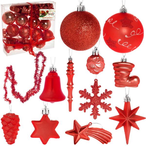 Новогодние шары (51шт) красный D06-289/R купить оптом и в розницу