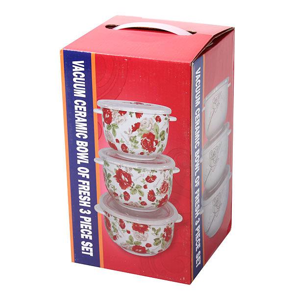 Набор салатников керамических 3шт с крышками ″Чайные розы″ купить оптом и в розницу