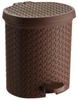 Контейнер педальный для мусора плетенный коричневый 21 л   *4 купить оптом и в розницу