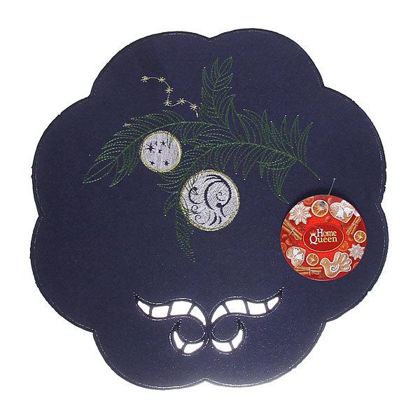 Салфетка на стол 30см с вышивкой праздничная синяя купить оптом и в розницу