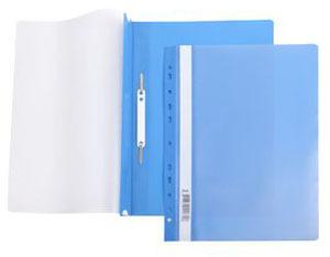 Папка-скоросшиватель A4 Hatber 140/180 мкм синяя, пластик, с перфорацией, прозр.верх купить оптом и в розницу