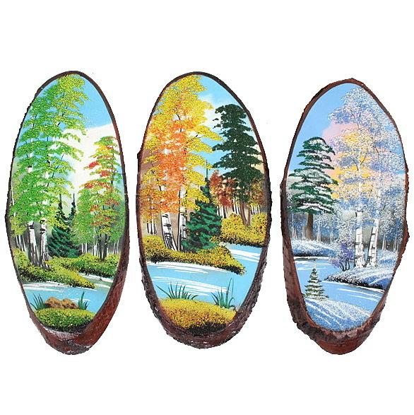 Панно из натурального камня на срезе дерева 35-39 см купить оптом и в розницу