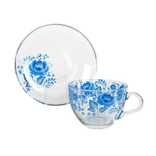 Набор чайный 12пр 215мл Бейзик ГЖЕЛЬ круговая деколь, на блюдце лепковая (1/4) купить оптом и в розницу