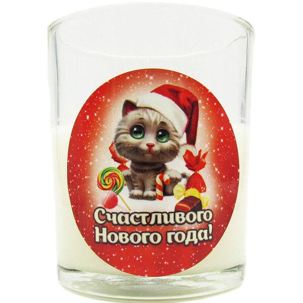 Свеча в стеклянном стакане ″Счастливого Нового года!″, Котенок (белая) купить оптом и в розницу
