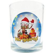 Свеча в стеклянном стакане ″На удачу!″, Снеговичок (синяя) купить оптом и в розницу