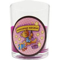 Свеча в стеклянном стакане ″Исполнения желаний!″, Медвежонок (фуксия) купить оптом и в розницу