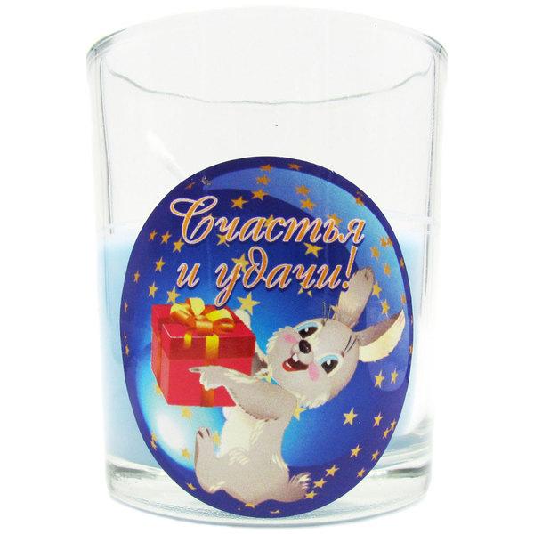 Свеча в стеклянном стакане ″Счастья и удачи!″, Зайчик (синяя) купить оптом и в розницу