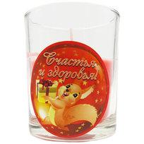 Свеча в стеклянном стакане ″Счастья и здоровья!″, Белочка (красная) купить оптом и в розницу