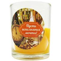 Свеча в стеклянном стакане ″Пусть исполнятся мечты!″, Вкус праздника (оранжевая) купить оптом и в розницу