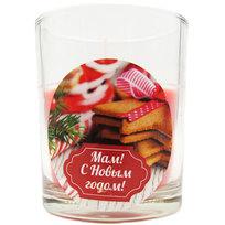 Свеча в стеклянном стакане ″Мам! С новым годом!″, Вкус праздника (красная) купить оптом и в розницу