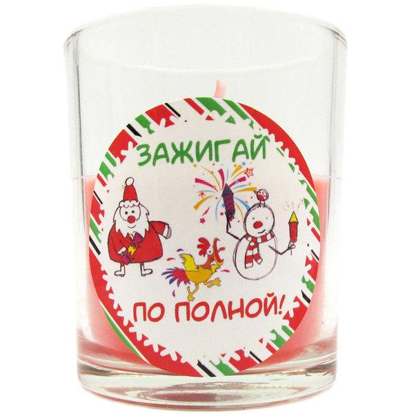 Свеча в стеклянном стакане ″Зажигай по полной!″, Снежон и Борода (красная) купить оптом и в розницу