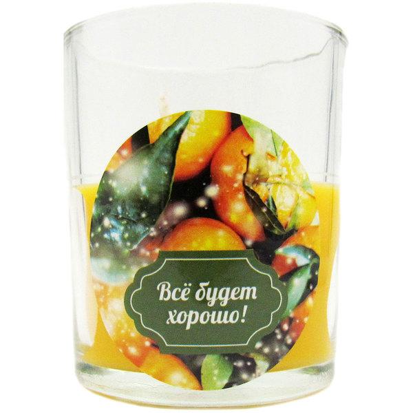 Свеча в стеклянном стакане ″Всё будет хорошо!″, Вкус праздника (оранжевая) купить оптом и в розницу
