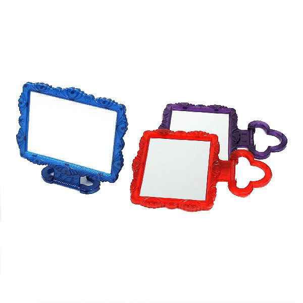 Зеркало настольное в пластиковой оправе ″Резная окантовка″ прямоугольник, подвесное 20*17см купить оптом и в розницу