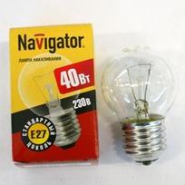 Лампа накаливания Navigator NI-С-40Вт-E27-230В-СL прозрачн.сфера (10/100) купить оптом и в розницу