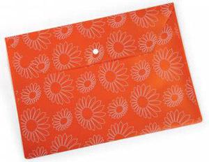 """Папка-конверт с кноп. А4 0,18мм Бюрократ пластик., непрозрач. глянц. с рисун. """"Ромашки"""" оранжевая купить оптом и в розницу"""