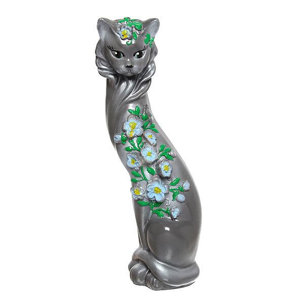 Статуэтка из гипса ″Кошка Цветы (серая), 45см. купить оптом и в розницу